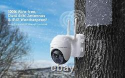 Solar Wireless Security Camera Outdoor Pan Tilt Wifi Home Smart Cam Imperméable