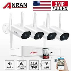 Système De Caméra De Sécurité 2k Sans Fil 8ch Nvr 5mp Audio Night Vision Outdoor 1tb Hd
