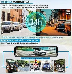 Triple Mirror Dash Cam 12 Avec Caméra Avant Détachée Et En Voiture, Imperméable À L'eau