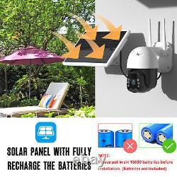 Wi-fi Ptz Caméra De Sécurité Batterie Solaire Alimentée 1080p Night Vision Cam